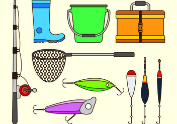 Set Equipment Icon Of Fishing Tackle - vector #440703 gratis