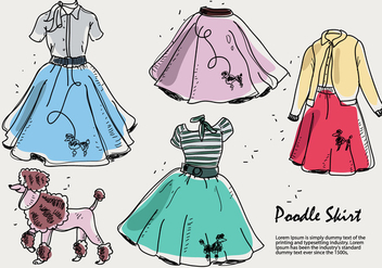 Hand Drawn Poodle Skirt Sketch Vector Illustration - Free vector #440713