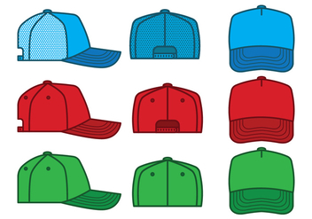 Trucker Hat Vector Pack - бесплатный vector #440823
