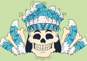 Cute Skull With Feathers Hat Tribal Style - Free vector #440863