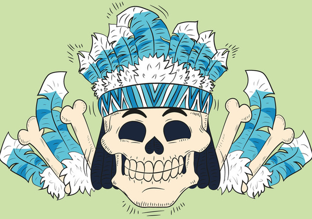 Cute Skull With Feathers Hat Tribal Style - бесплатный vector #440863