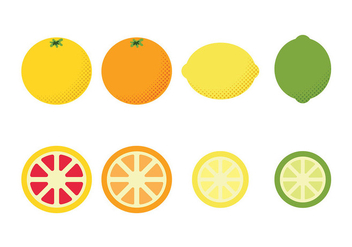 Flat Fruit Icons Vector - vector gratuit #440883