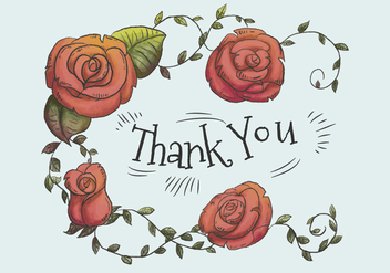 Cute Red Roses And Leaves With Thank You Text - Free vector #440913