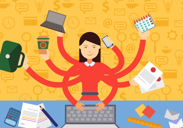 Woman In Multitasking Situation - Free vector #441023
