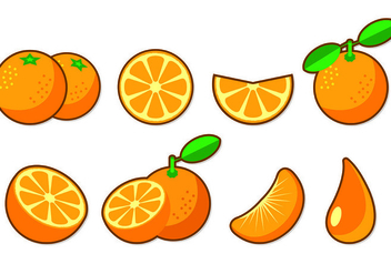 Set Of Clementine Fruit Icons - Free vector #441053
