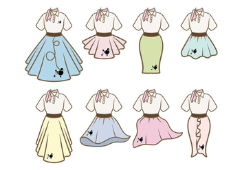 Poodle Skirt Outfit Vectors - Free vector #441063