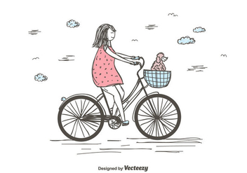 Girl Riding Bike Vector - Free vector #441123