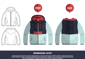 Windbreaker Jacket Front And Back Views Vector Illustration - Free vector #441163