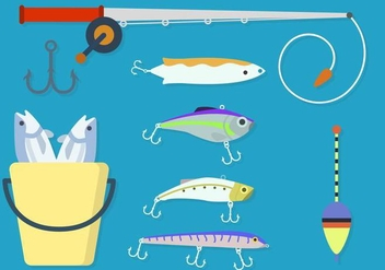 Flat Fishing Element Vectors - vector gratuit #441173