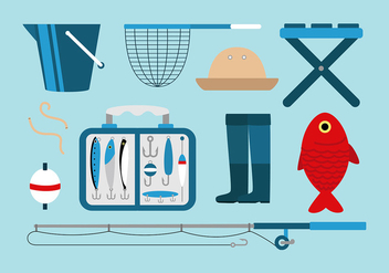 Fishing Tackle Set Free Vector - бесплатный vector #441233