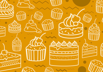 Cakes Line Icon Pattern - Free vector #441253