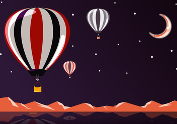 Hot Air Balloon Night Free Vector - Free vector #441413