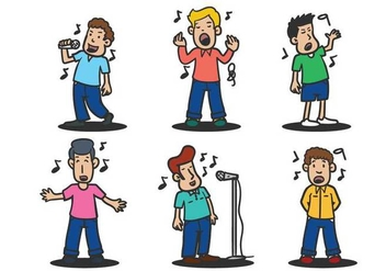 People singing vector illustration set - vector gratuit #441543
