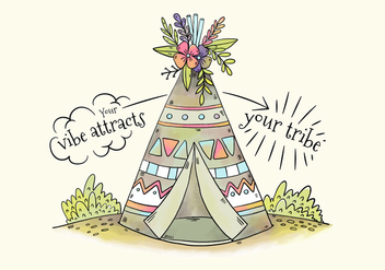 Cute Tribal Tent With Flowers And Leaves - Free vector #441553