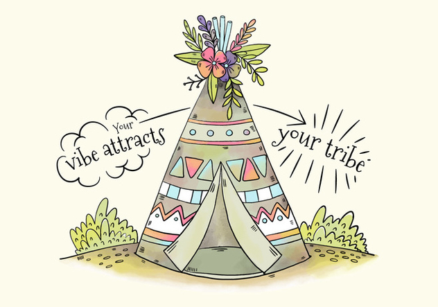 Cute Tribal Tent With Flowers And Leaves - vector gratuit #441553