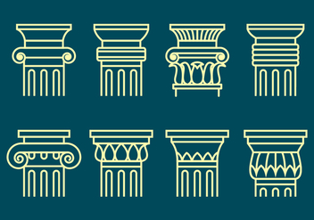 Corinthian Icons Set - vector #441623 gratis