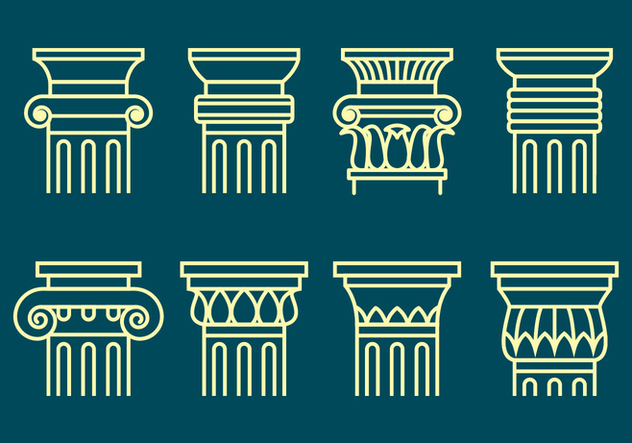 Corinthian Icons Set - vector gratuit #441623