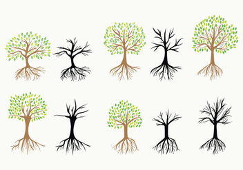 Tree with Roots Vector Icons - vector #441673 gratis