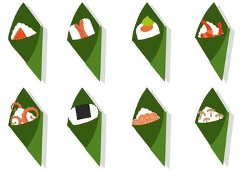 Free Temaki Sushi With Different Topping Vector - Kostenloses vector #441843