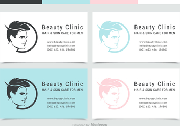 Man Face Silhouette Business Card With Logo Vector Set - бесплатный vector #441903