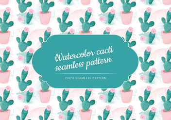 Vector Watercolor Cacti Pattern - Free vector #441933