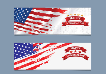 Memorial Day Banner Collection - бесплатный vector #442003