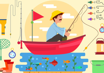 Fisherman With Equipment In Boat Vector - Free vector #442053