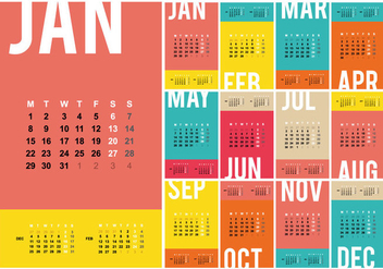 Free Desktop Calendar 2018 Template Illustration - Free vector #442223