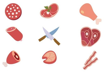 Free Meat Collages Product Icons Vector - vector gratuit #442263