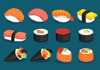 Variety Of Delicious Sushi - vector gratuit #442293
