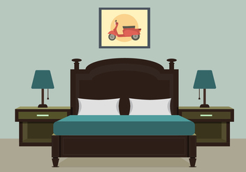 Bedroom With Furniture Vector Illustration - Free vector #442323