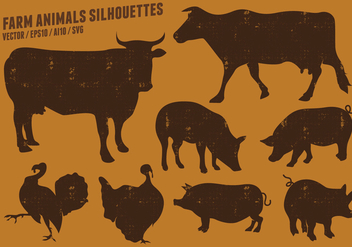 Farm Animal Silhouettes Collection - Free vector #442393