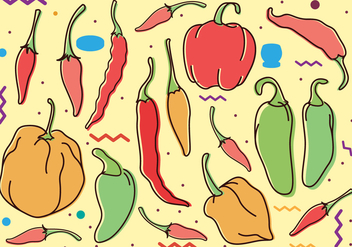 Chili Peppers Doodle Drawing - Free vector #442413