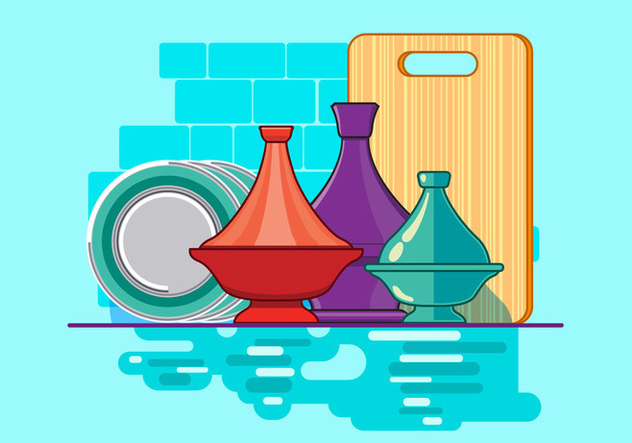 Moroccan Tajine Collection with Plate and Kitchen Background - Free vector #442433