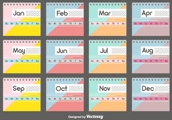 Desktop Calendar Template Set - vector #442463 gratis