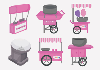 Candy Floss Cart Vector Illustration - Free vector #442473