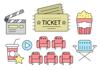 Free Cinema Icons in Linear Style - Free vector #442633