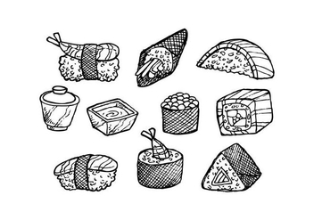 Free Japanese Food Hand Drawn Icon Vector - Free vector #442763