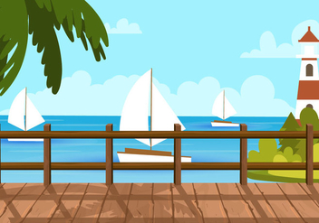 Boardwalk Beach View - бесплатный vector #442773