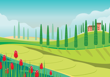 Beautiful Panoramic View of Tuscany Landscape - Free vector #442793