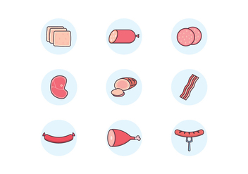 Meat Products Icons - vector #442803 gratis