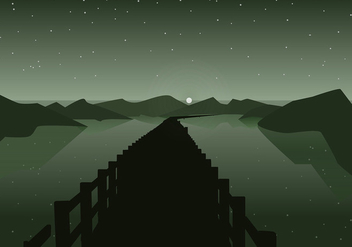 Boardwalk Night Silhouette Free Vector - Free vector #442813