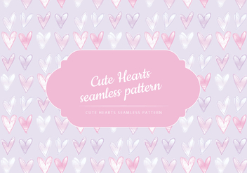 Vector Cute Hearts Seamless Pattern - Free vector #442843