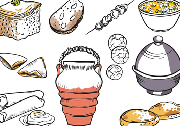 Free Moroccan Dishes Vectors - Free vector #442913