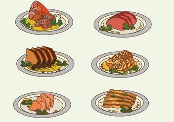 Charcuterie Meat On Plate Vector Illustration - vector #442923 gratis