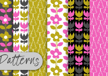 Colorful Tulips Pattern Set - vector gratuit #442953