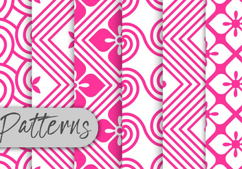 Pink Rosete Pattern Set - Free vector #442963