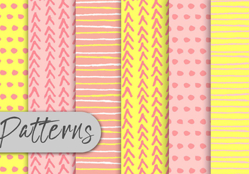 Yellow And Pink Decorative Pattern set - Kostenloses vector #442973