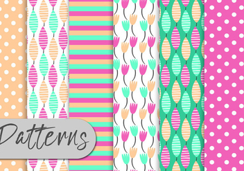 Cute Colorful Nature Pattern Set - Free vector #443003