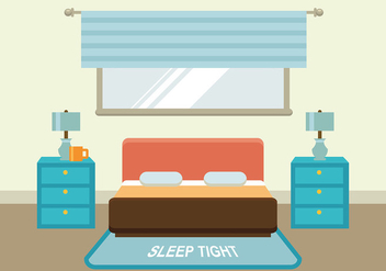 Flat Bed with Headboard Free Vector - vector gratuit #443043